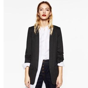 Zara Charcoal Turn Up Sleeve Blazer NWT